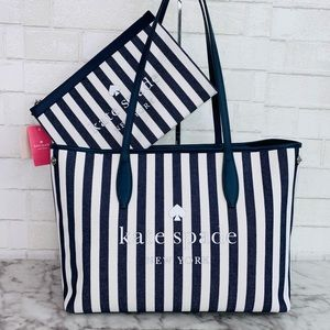 Kate Spade Side Snap Stripped Tote & Pouch Set